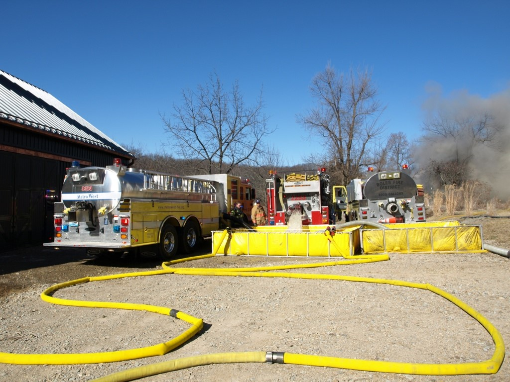 Fire trucks with water supply