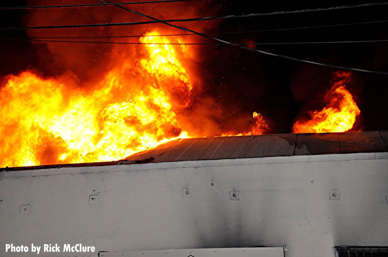 Flames tear through a building in L.A.