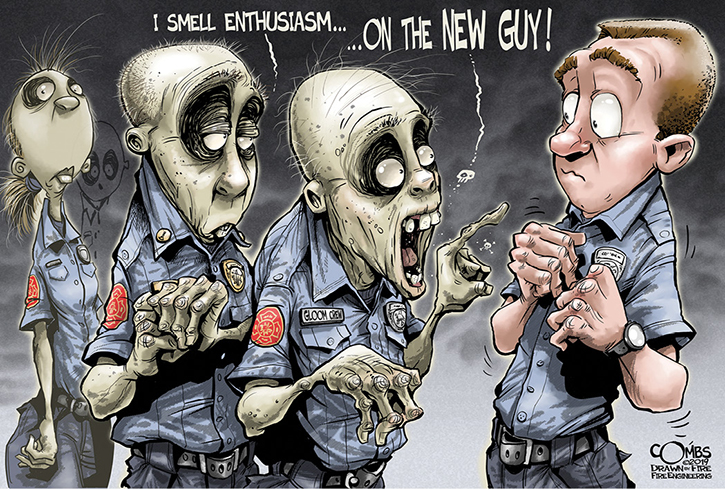 October cartoon from Paul Combs: Zombie Morale