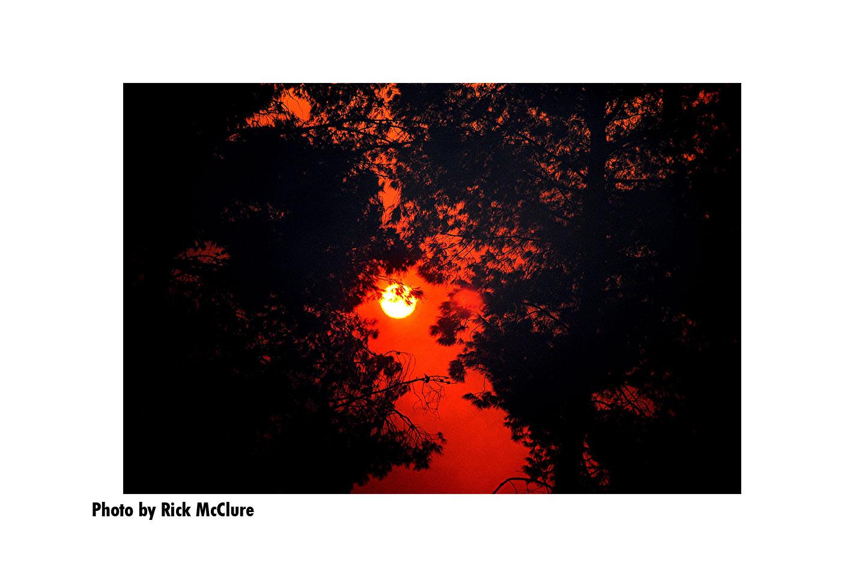 Sun seen through a red haze