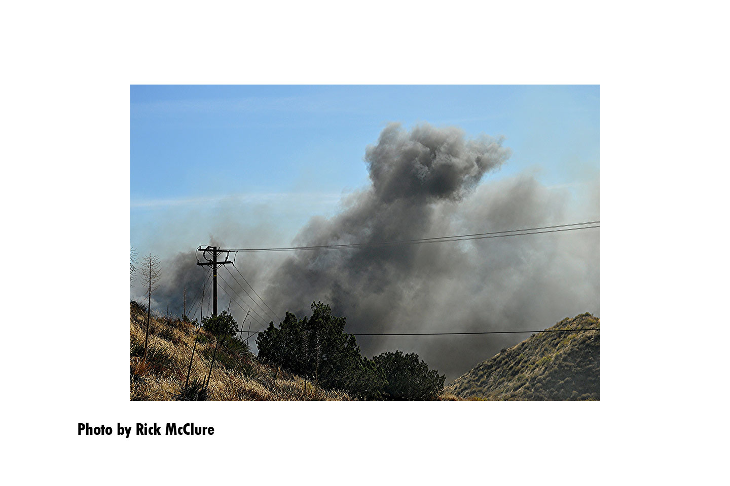 A plume of smoke from the Tick Fire