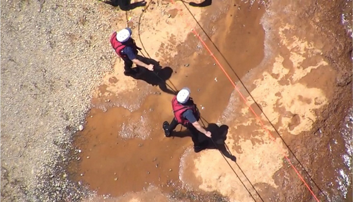 Assisting with technical water rescue training near Arden Ponds, Arden, California.