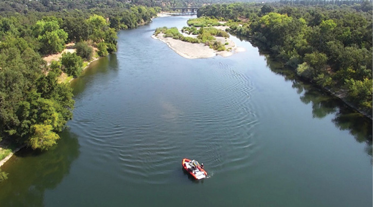 Coordinated search training with a rescue boat company over the Sacramento River, Sacramento, California.