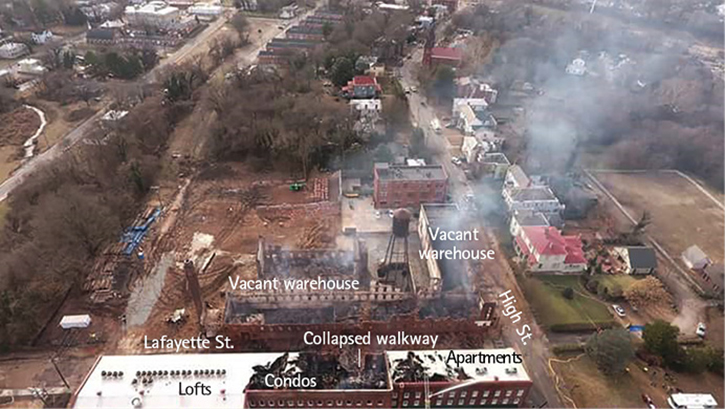 An overhead view of the incident site. High Street Lofts, containing lofts, condos, and apartments, is at the bottom.
