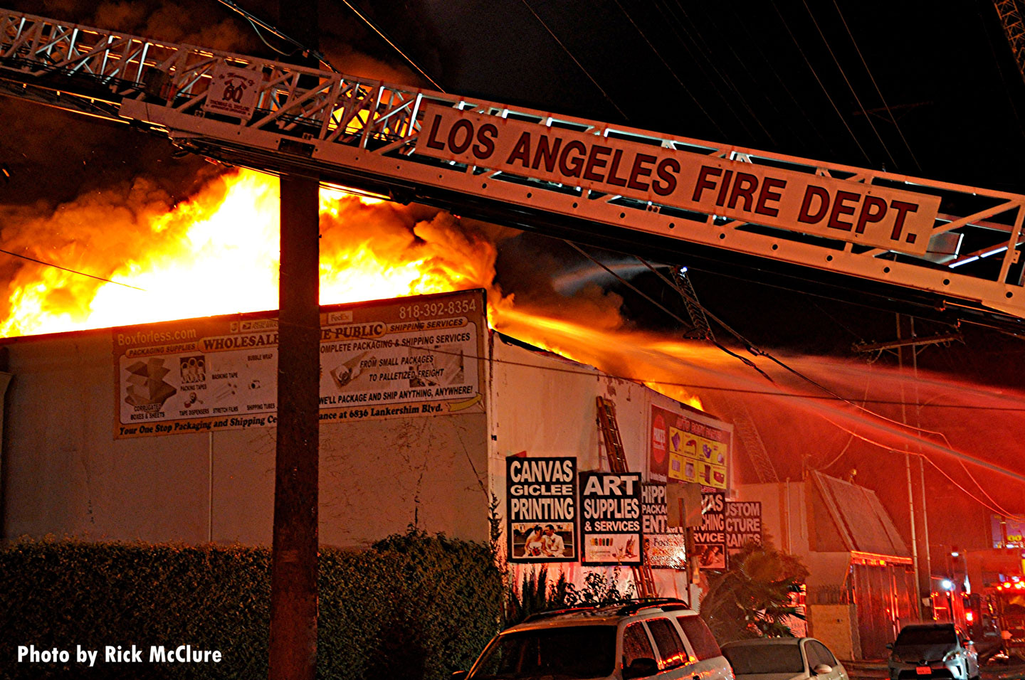 Los Angeles Fire Department aerial device at the scene of the fire