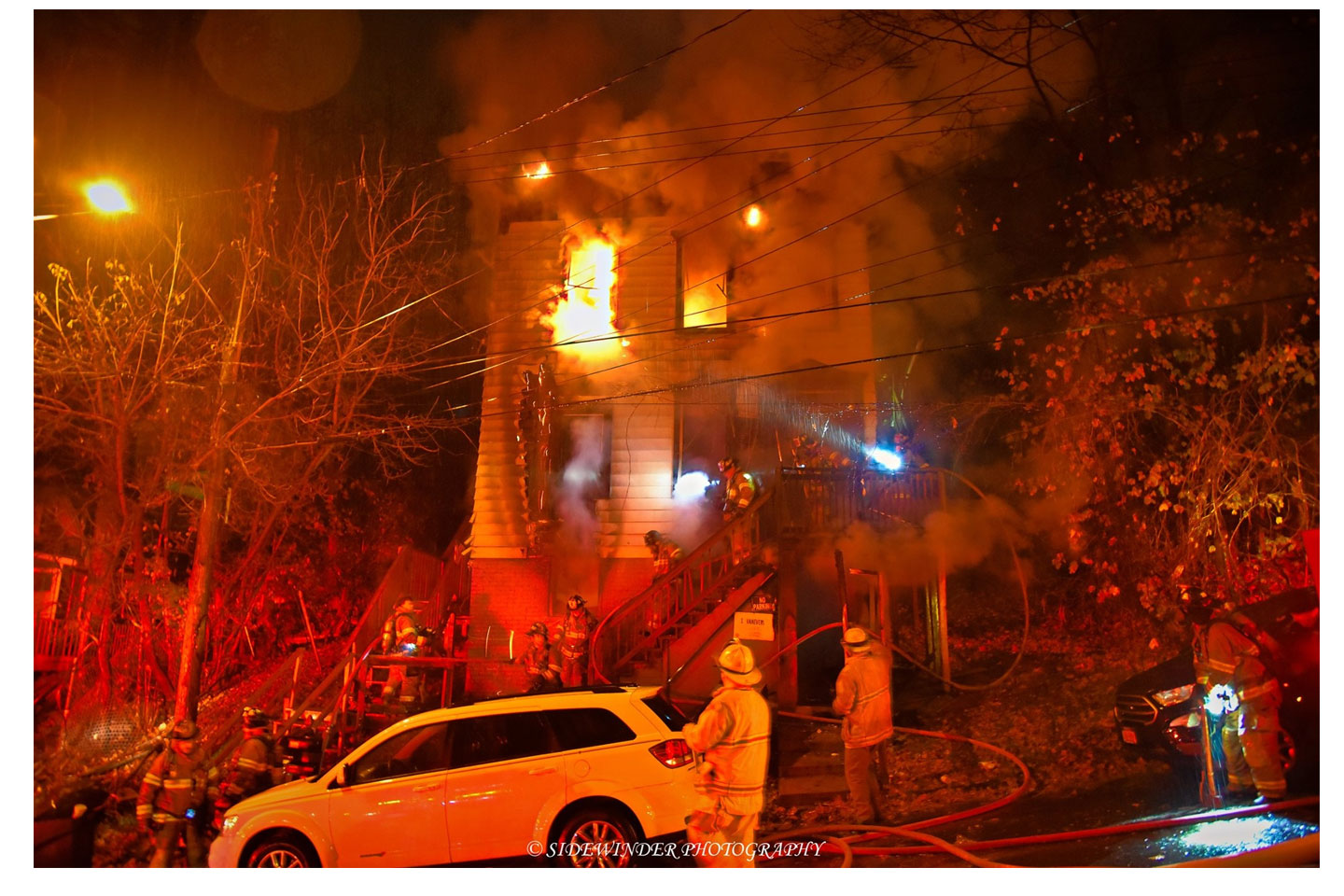 Fire conditions on the second floor of the home.