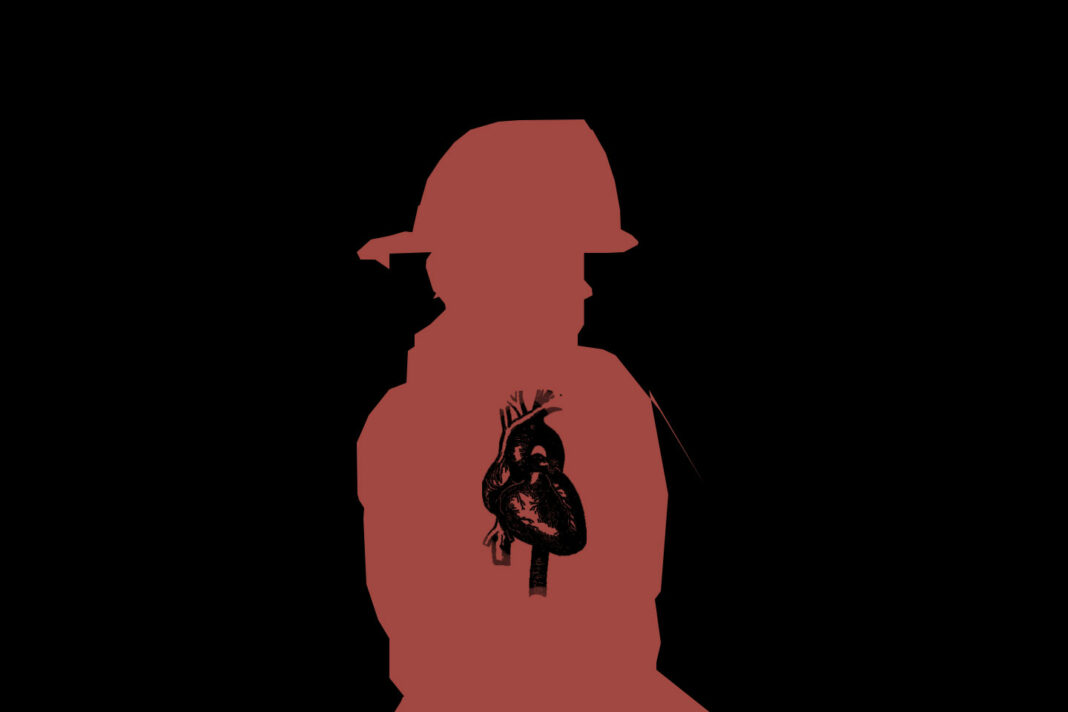firefighter with heart in silhouette