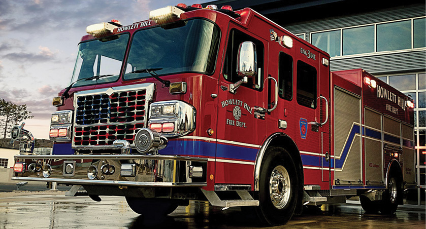 The Howlett Hill (NY) Fire Department runs this rescue pumper built by MARION BODY.