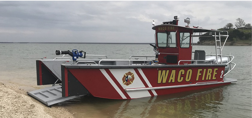 The Waco (TX) Fire Department purchased this LAKE ASSAULT BOATS fire and rescue craft after seeing the performance of a similar boat owned by a neighboring fire department. The unit protects Lake Waco and a section of the Brazos River for firefighting, rescue, and dive operations.