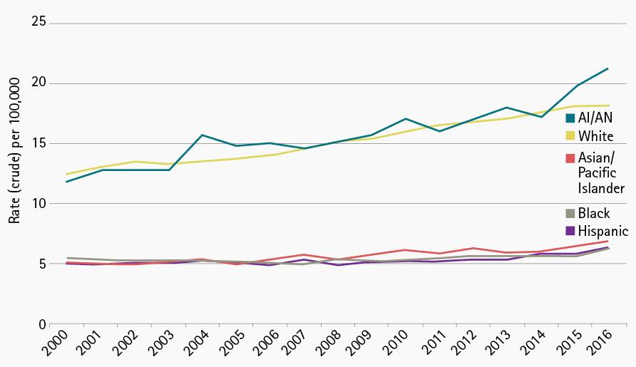 Figure 3. Suicide Rates Based on Race: 1999-2016