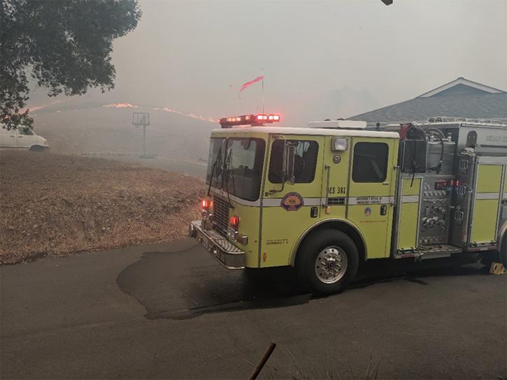 Fire engine in WUI