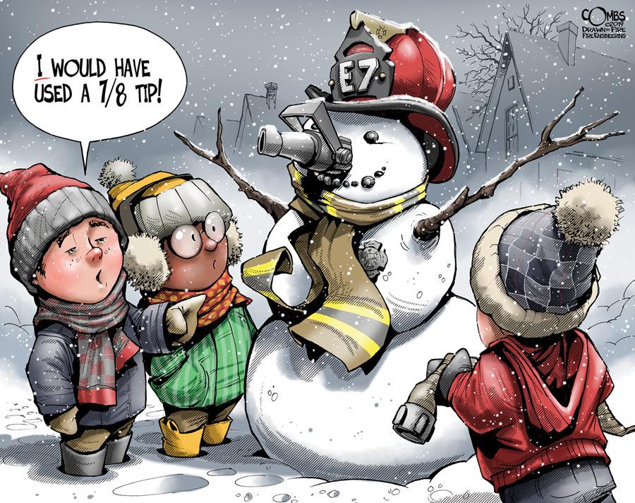 Fireground critics and a snowman by Paul Combs