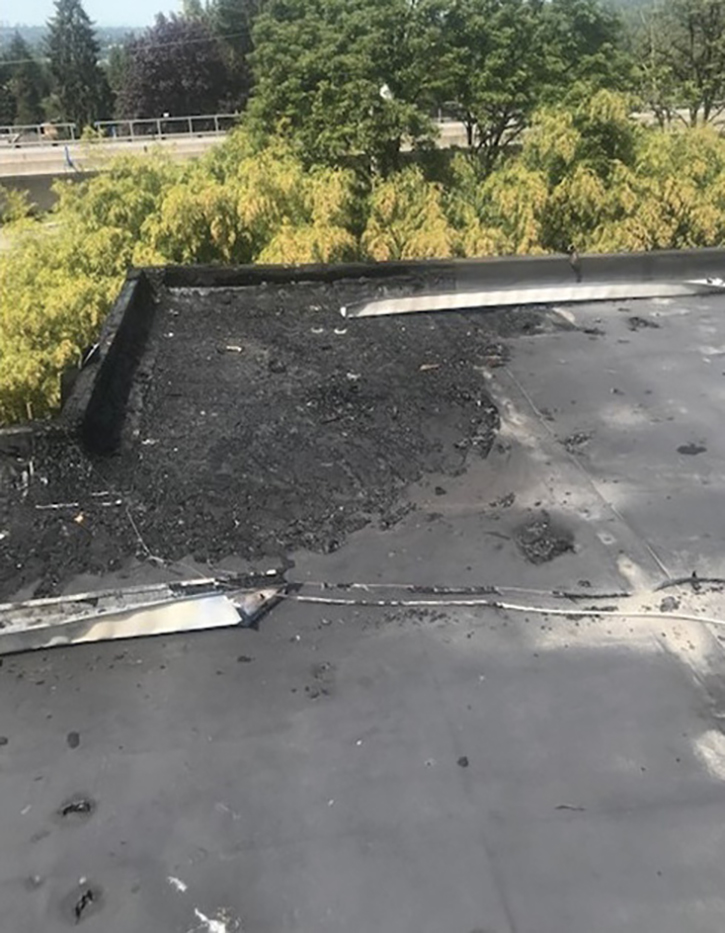 A roof spalling over an affected fire area.
