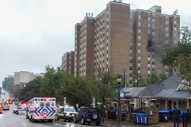 On the arrival of Ladder 4, fire was evident from a ninth-floor window on the West Johnson Street side. This incident reinforces the need to view all areas of the building on arrival to gain insight into expected conditions. After supplying the FDC on the Delta side, a lieutenant, knowing the interior floor layout, directed interior attack crews to the fire location from his position outside. (Photos by Mike Legeros.)
