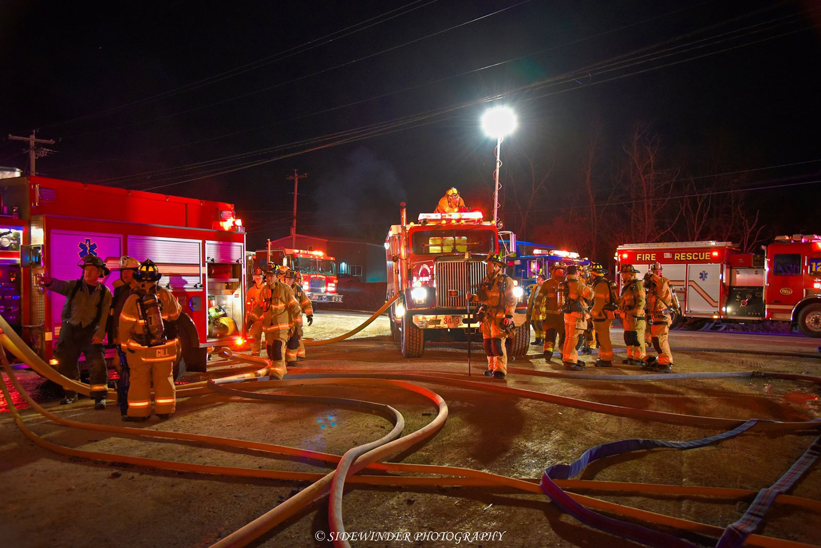 Various fire apparatus at the scene of the fire