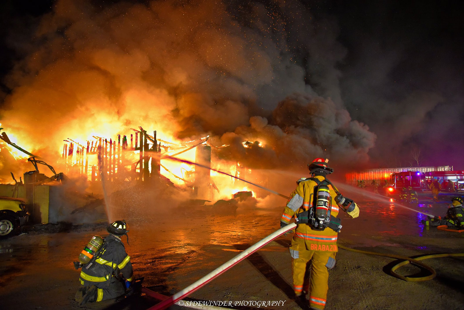 Another view of multiple streams being directed towards the building