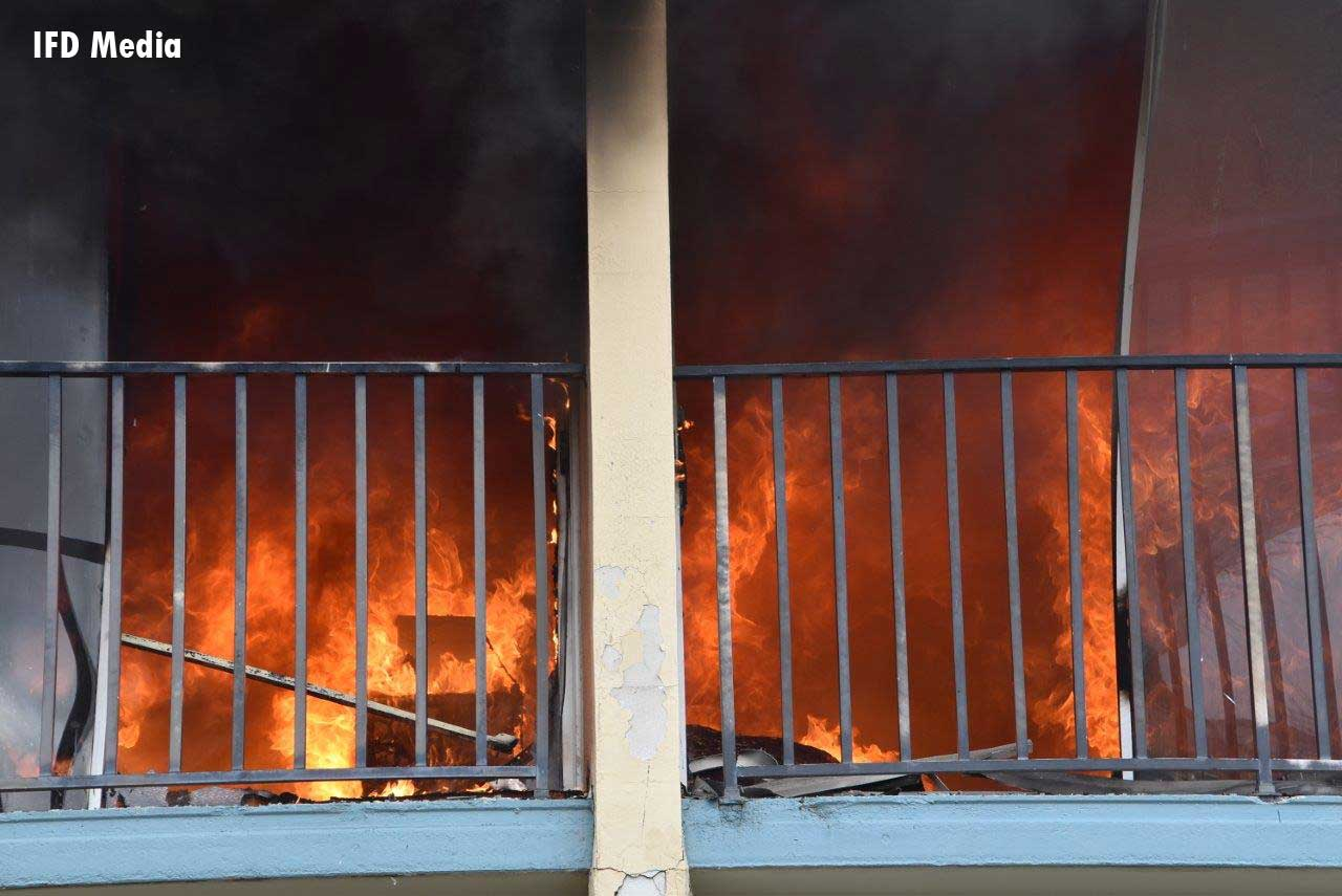 A view of raging flames at motel fire