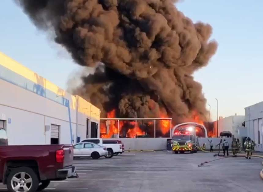 Miami-Dade firefighters at raging industrial fire