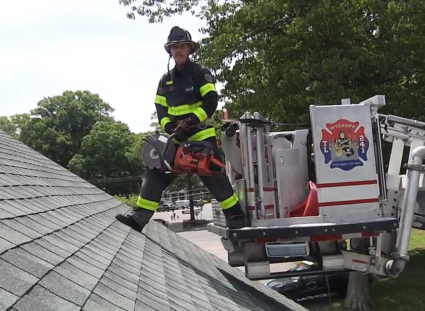 Mike Ciampo on cutting from the tower ladder bucket