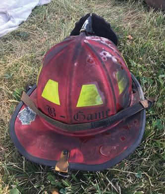 My helmet at the scene postevent. The helmet is normally kept clean