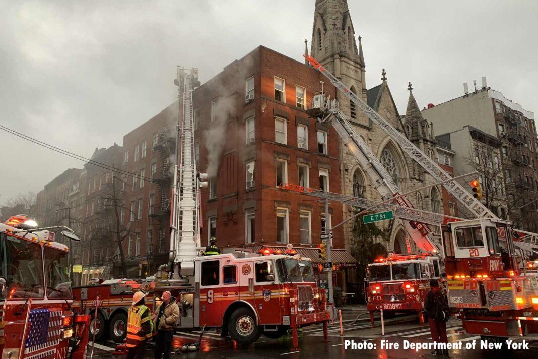 FDNY fire apparatus on scene of Manhattan fire