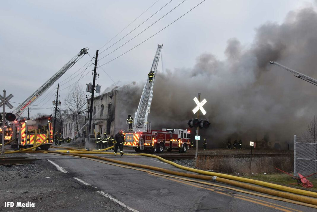 Indy fire crews respond to a fire in a large vacant commercial building
