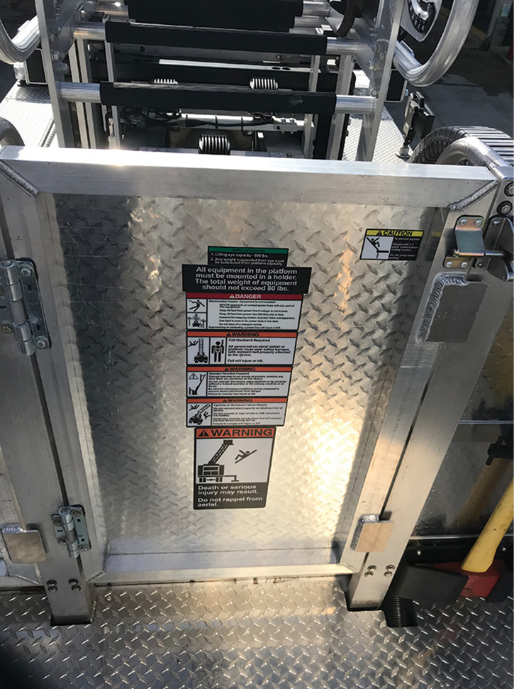 Prior to using this tactic, have an understanding of the tower ladder bucket's rear floor physical characteristics for butting the ladder.
