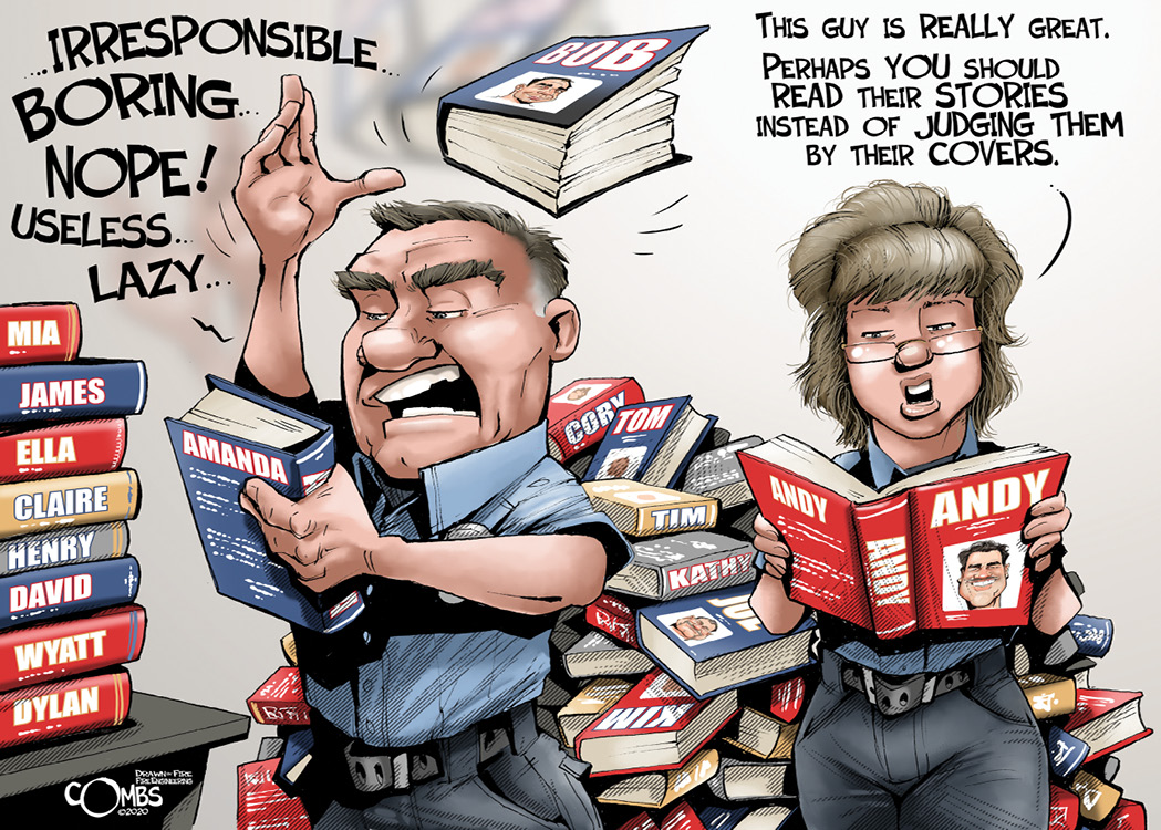 Firefighter throwing books
