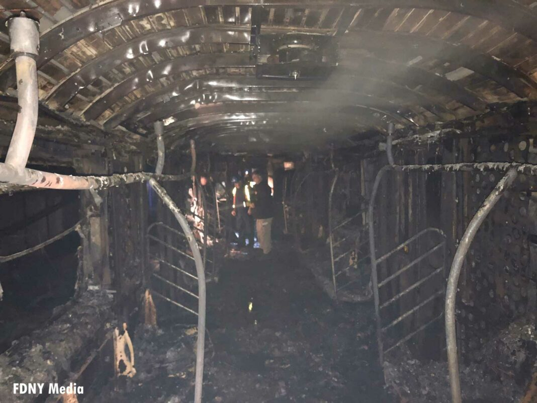 Burnt-out subway car in NYC