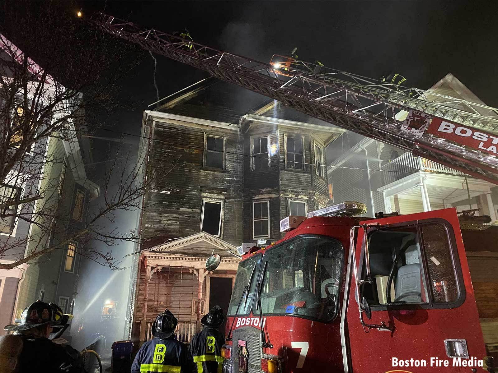 A view of the damage at the second fire in Dorchester
