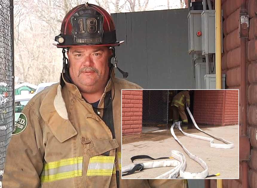 Columbus Fire Lt. Steve Robertson on hoselines
