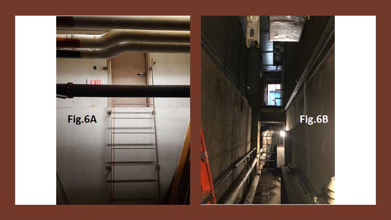 Different views of a narrow shaft in a hospital facility