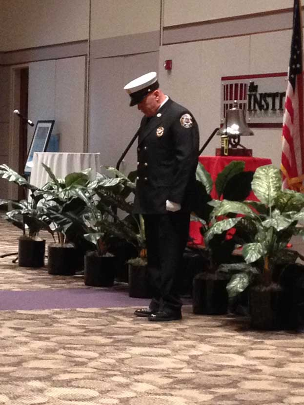 Firefighter during bell ceremony
