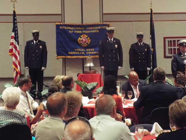Firefighters during bell ceremony