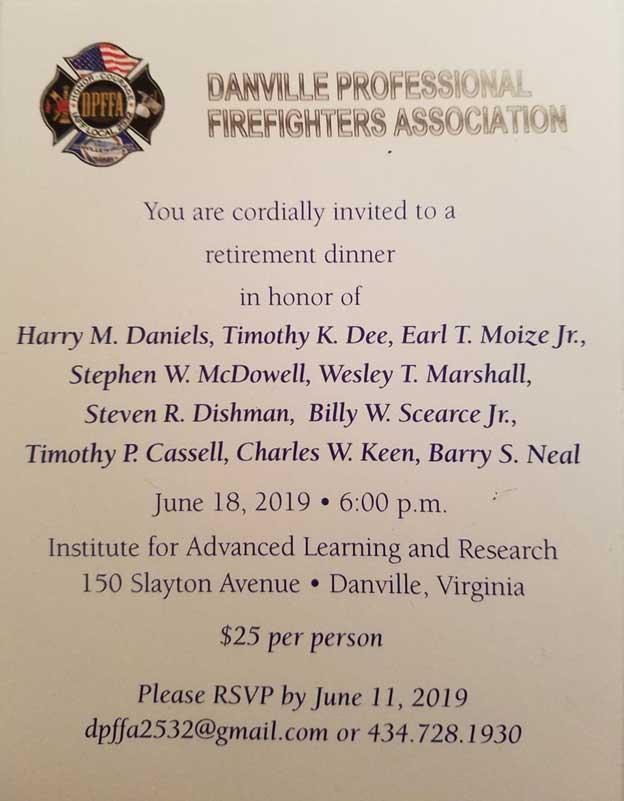 DPFFA Retirement Dinner Invitation.