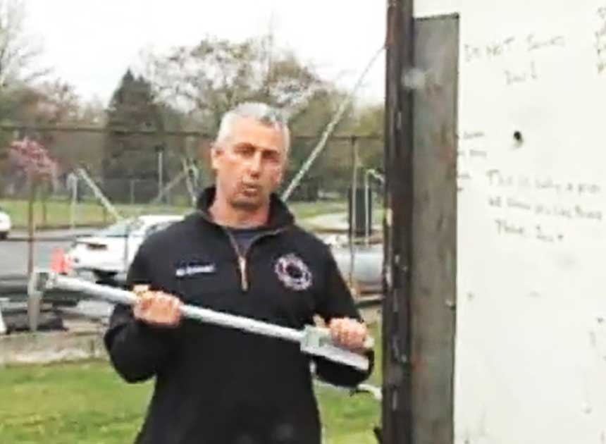 John Buckheit with a halligan