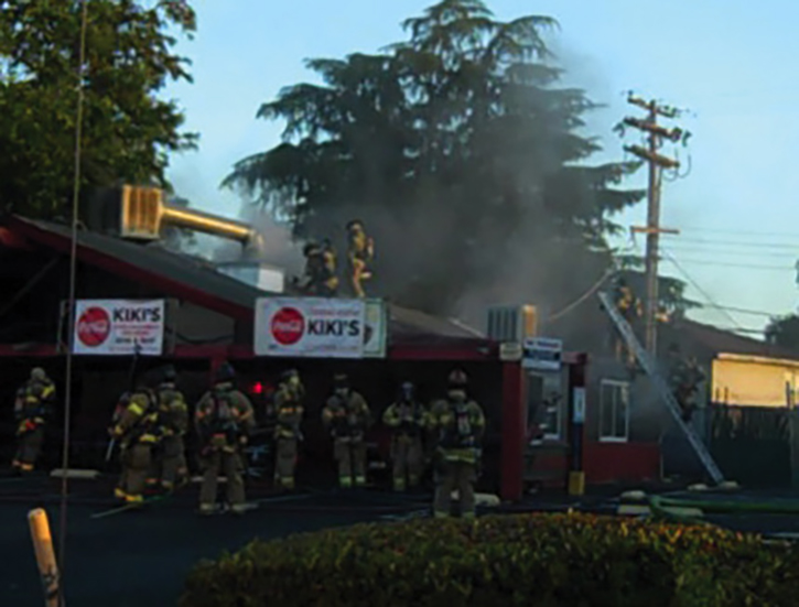 View from the ICP of a fire in a restaurant with vertical ventilation.