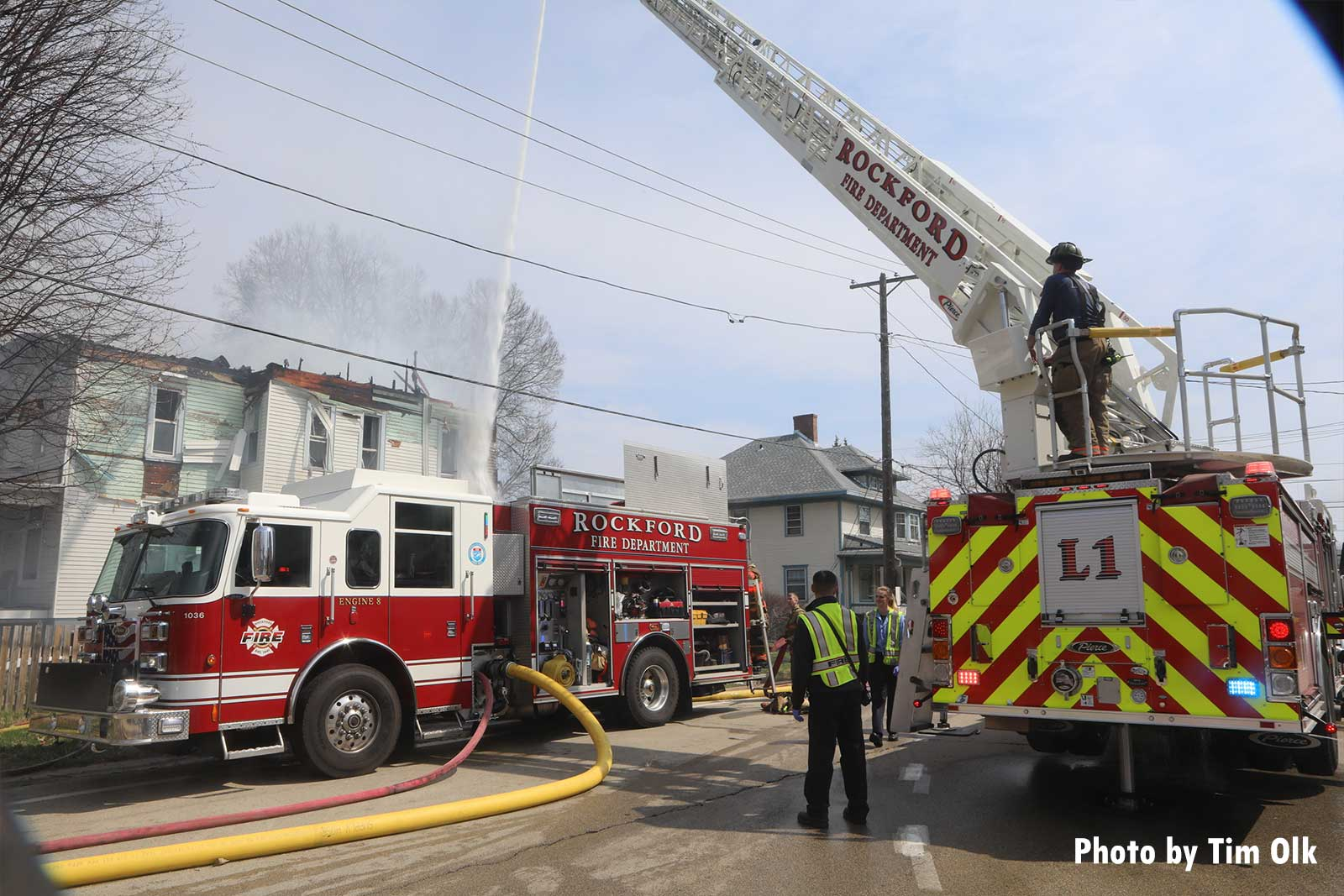 Two fire trucks at the scene of an apartment fire in Rockford