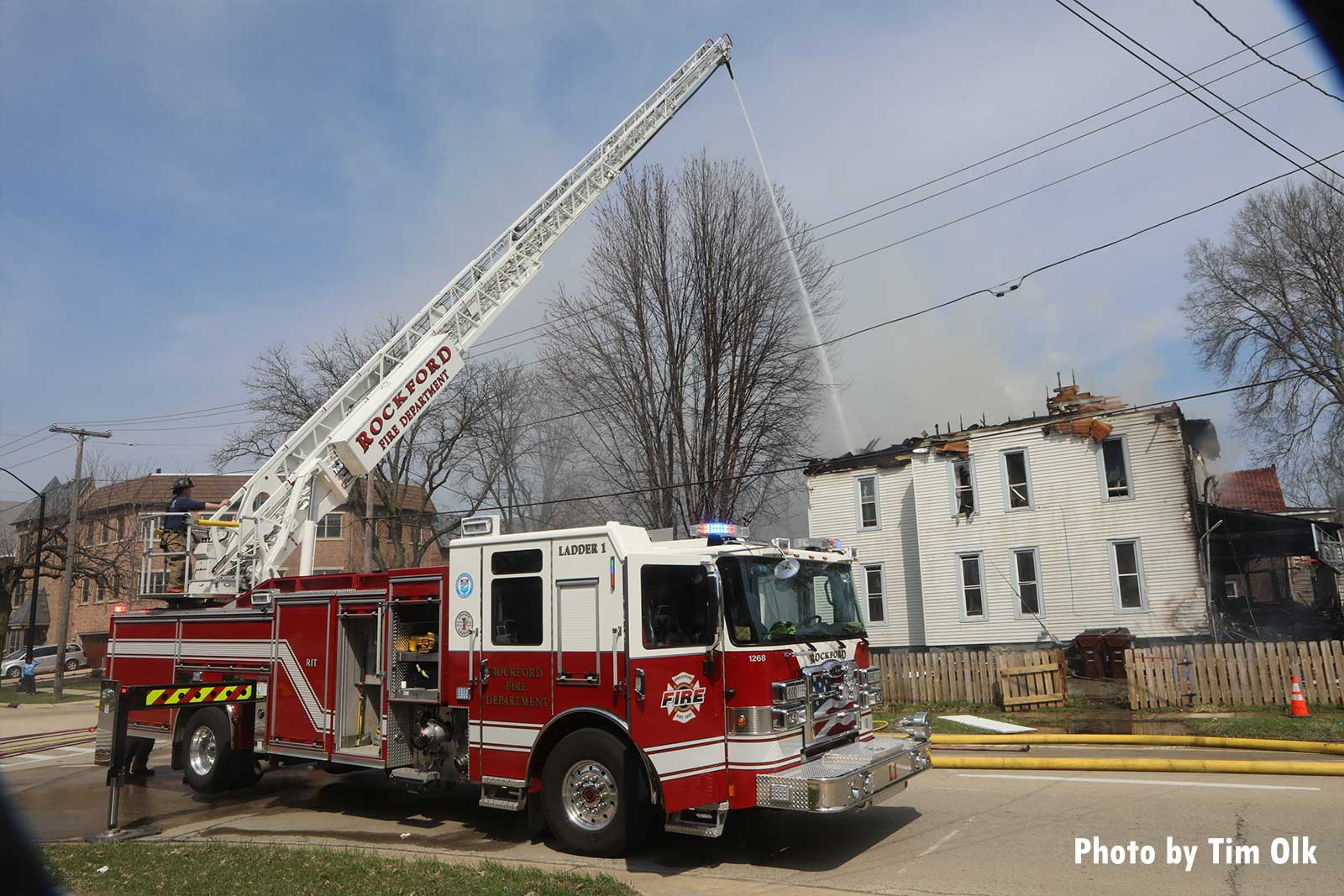 Aerial device in use at Rockford fire