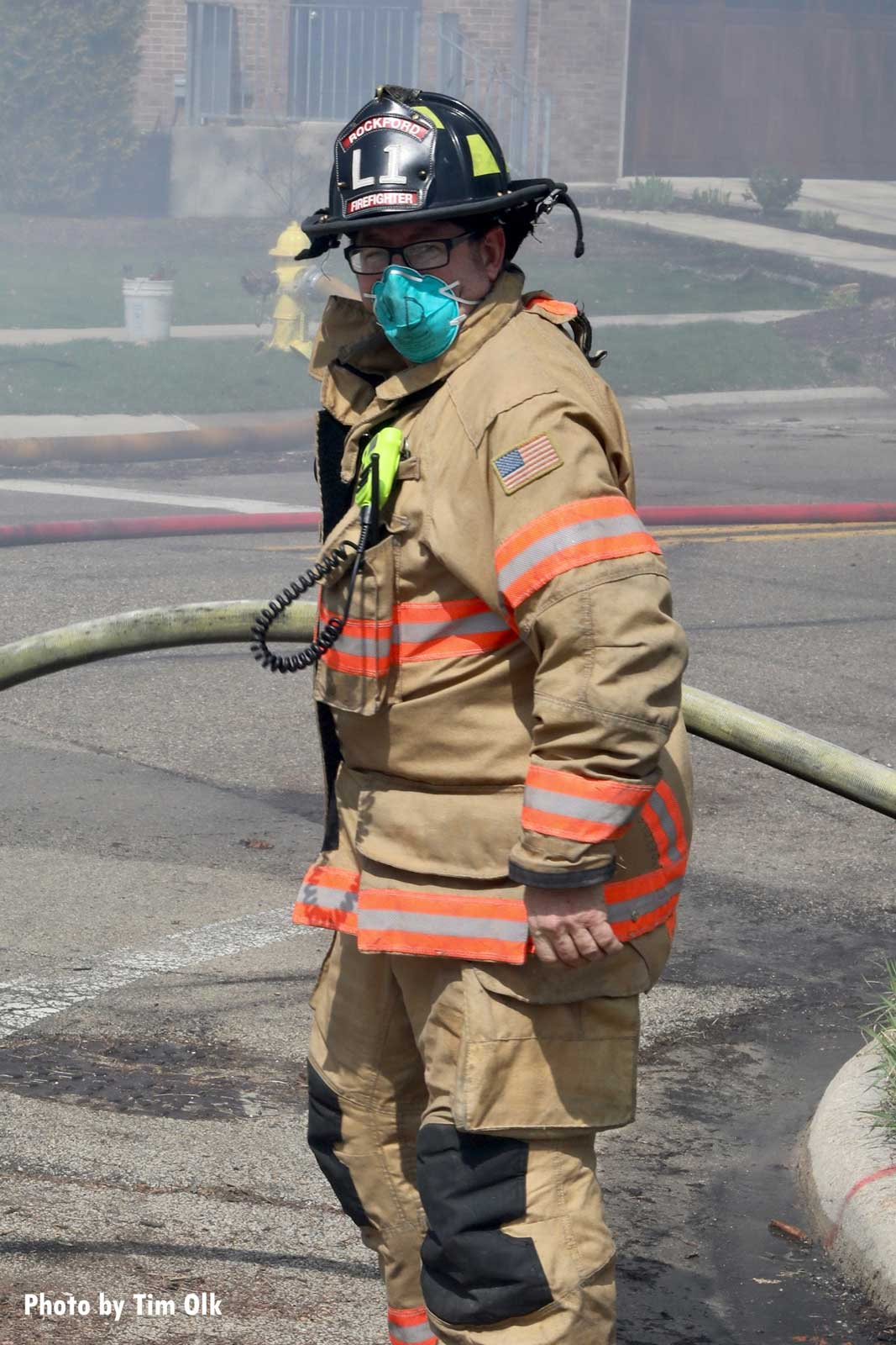 Firefighter wearing a mask in the time of the coronavirus pandemic