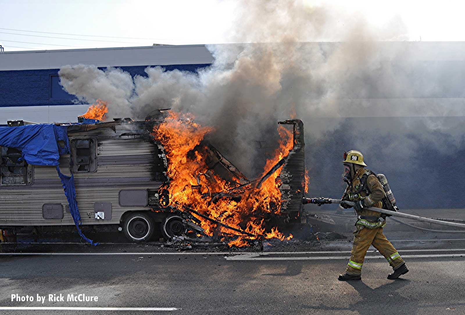 Flames shoot from a trailer in the Pacoima area of Los Angeles
