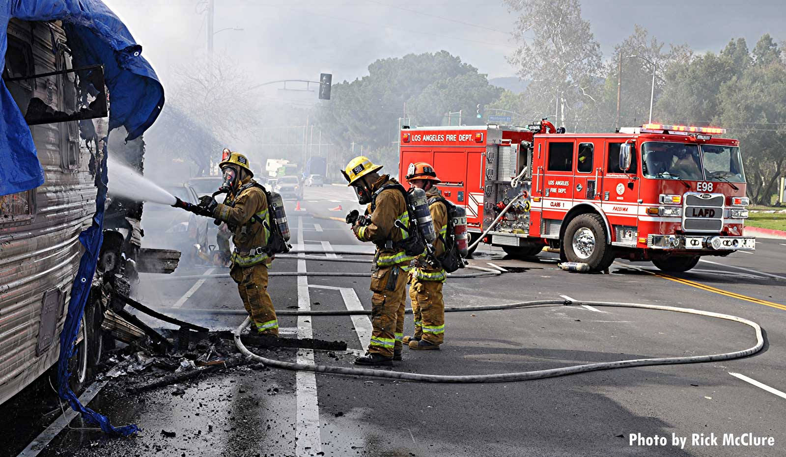 Fire apparatus and firefighters at the scene of this fire in L.A.