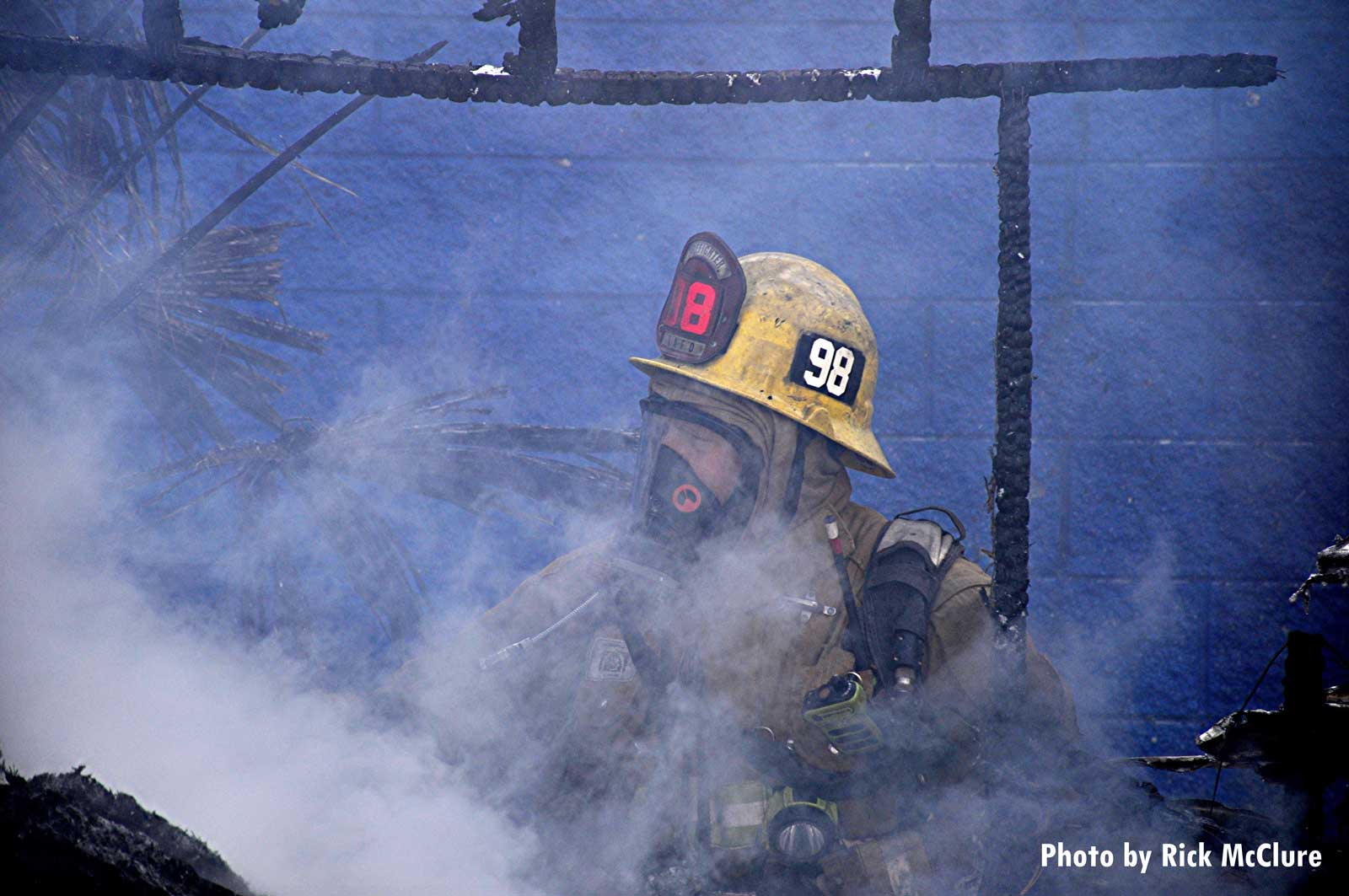 LAFD firefighter with smoke