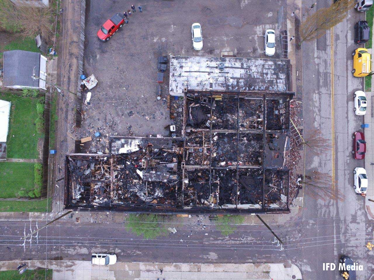 An overhead view of the fire-ravaged building in Indianapolis