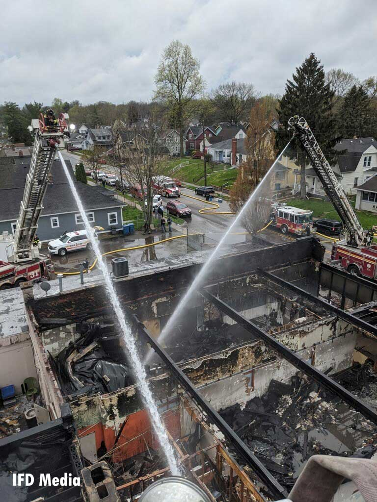 Multiple aerial streams in operation at the scene