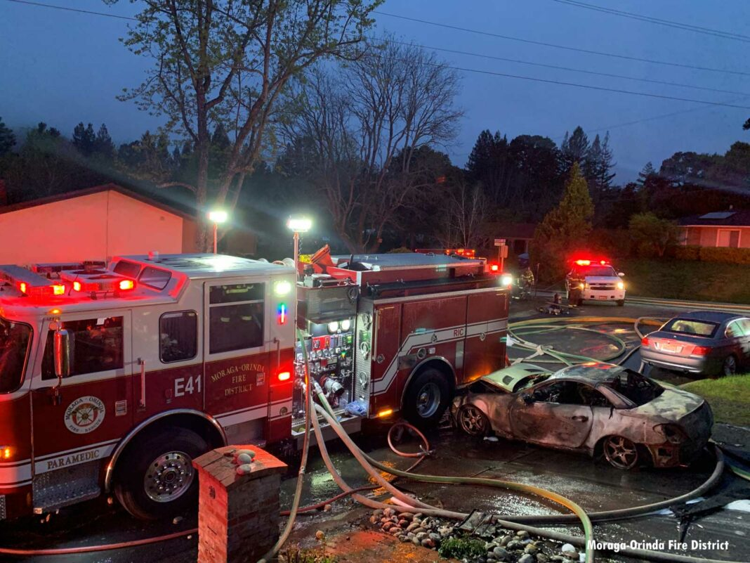 Fire-damaged car rolled into fire truck