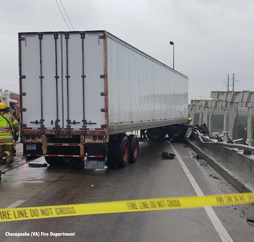 The trailer of the vehicle on the bridge