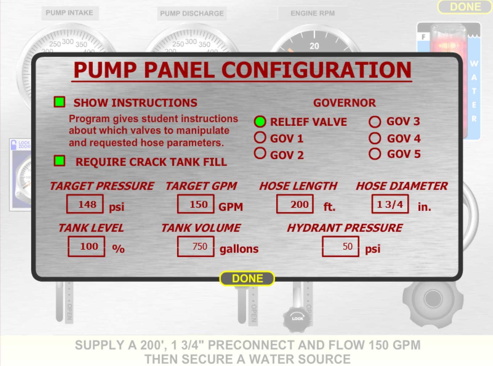 Pump panel configuration options