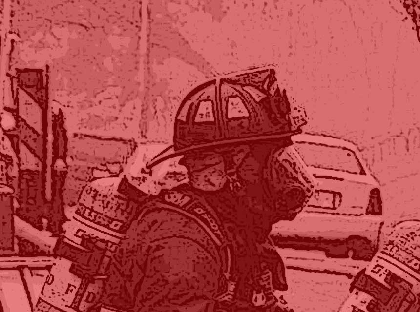 Firefighter in profile