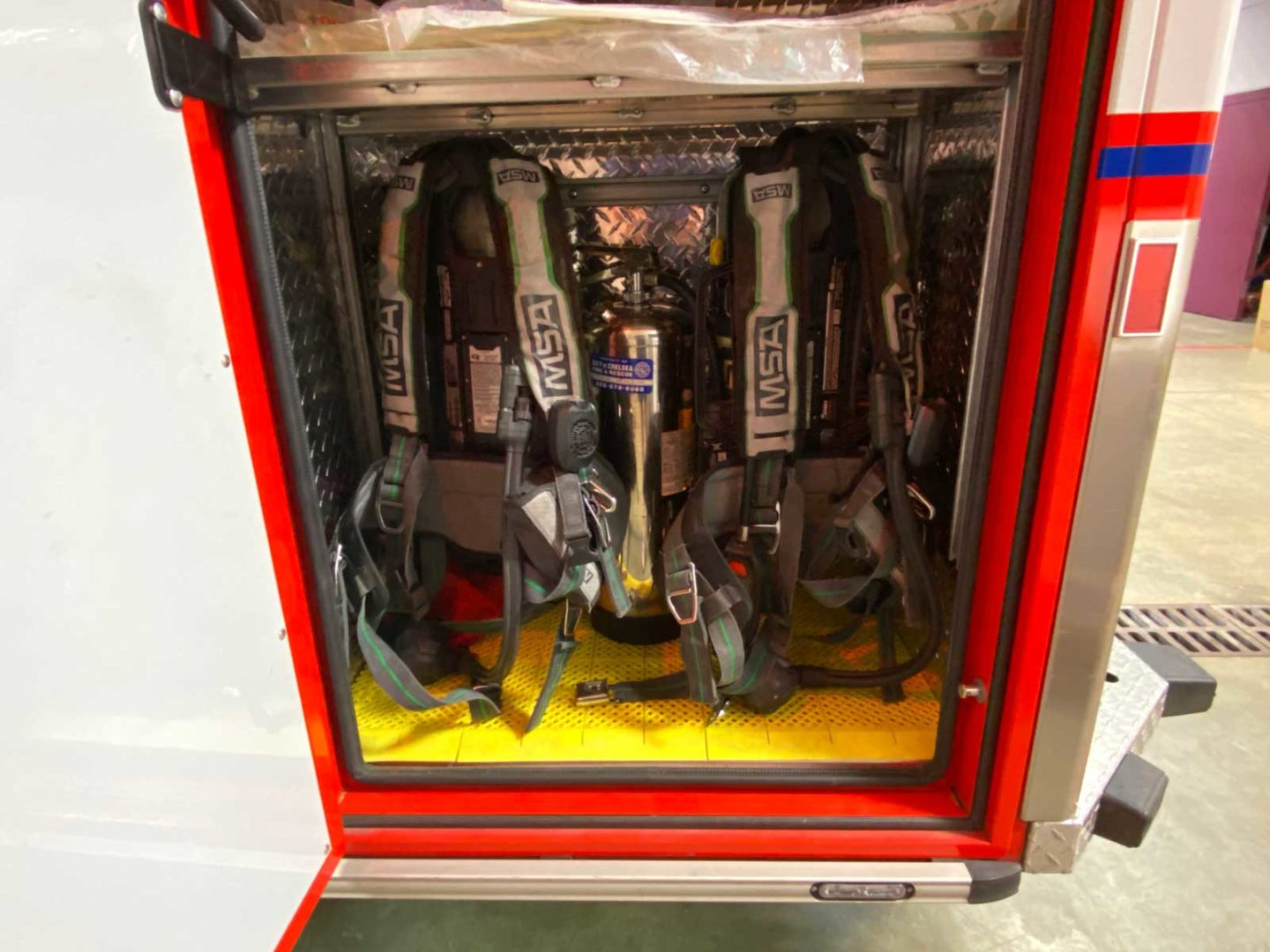 Firefighter SCBA inside a compartment